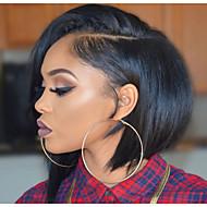 Echt haar Kanten Voorkant Pruik Recht / Yaki Pruik 130% Natuurlijke haarlijn / Afro-Amerikaanse pruik / 100% handgebonden Dames Kort / Medium Kanten pruiken van echt mensenhaar / Recht