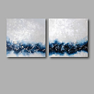 Ready to Hang Hand-Painted Oil Painting on Canvas Wall Art Abstract Contempory Blue White Abstract Two Panels
