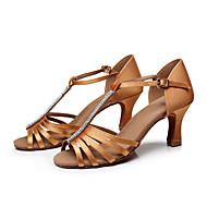 baratos Sapatilhas de Dança-Mulheres Sapatos de Dança Latina / Sapatos de Salsa / Sapatos de Samba Cetim Sandália Pedrarias / Presilha Salto Personalizado / Interior