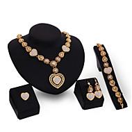 Dame Smykkesæt Smykke Sæt - Kvadratisk Zirconium, 18K Guldbelagt Guld