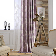 Grommet Top Double Pleat Two Panels Curtain Country Modern Neoclassical , Embroidery Bedroom Linen / Cotton Blend Material Curtains Drapes