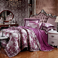 Deep Purple Bedding Set Queen King Size Luxury Silk Cotton Blend Lace Duvet Cover Sets Jacquard Pattern
