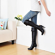 Women's Shoes Leatherette Stiletto  / Round Toe Boots Outdoor / Office & Career / Casual Black / Blue / Brown / White