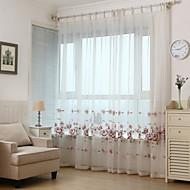 baratos Cortinas Transparentes-Dois Painéis Europeu / Rústico / Moderno / Neoclassicismo / Mediterrêneo Floral / Botânico / Folha / Videira Vermelho Sala de Estar