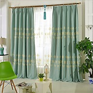 Rod Pocket Grommet Top Tab Top Double Pleat Two Panels Curtain Country , Embroidery Bedroom Linen / Cotton Blend Material Curtains Drapes