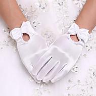 スパンデックス 手首丈 グローブ ブライダル手袋 / パーティー/イブニング手袋 と リボン / パール