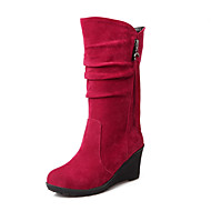 Women's Boots Spring Fall Winter Comfort Fleece Office & Career Casual Athletic Wedge Heel Zipper TasselGray Brown Red Green Blushing