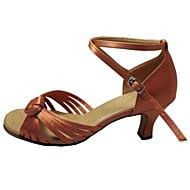 cheap Dancewear & Dance Shoes-Women's Latin Salsa Satin Sandal Indoor Performance Professional Beginner Practice Customized Heel Tan Peach Black Customizable