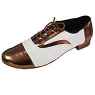 billige Men's Dance Shoes-Herre / Dame Swingsko Lær / Lakklær / Kunstlær Høye hæler Lav hæl Kan spesialtilpasses Dansesko Bronse / Rød / Innendørs / Ytelse