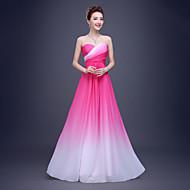 Linha A Decote Princesa Longo Chiffon Evento Formal Vestido com Pregueado Drapeado Lateral de TS Couture®