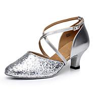 baratos Sapatilhas de Dança-Mulheres Sapatos de Dança Moderna Flocagem Salto Lantejoulas Salto Cubano Não Personalizável Sapatos de Dança Vermelho / Prateado / Dourado / Interior / Ensaio / Prática / Profissional