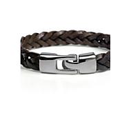 Heren gevlochten Lederen armbanden Armband Klassiek Feest Werk Informeel Standaard Armbanden Sieraden Zwart / Bruin Voor Lahja Dagelijks Causaal Sport mielitietty