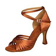 baratos Sapatilhas de Dança-Mulheres Sapatos de Dança Latina Cetim Sandália / Salto Presilha Salto Agulha Não Personalizável Sapatos de Dança Preto / Vermelho / Marrom / Interior / Couro / Ensaio / Prática / Profissional