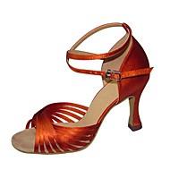 baratos Sapatilhas de Dança-Mulheres Sapatos de Dança Latina Cetim / Courino Sandália / Salto Presilha Salto Agulha Não Personalizável Sapatos de Dança Preto /