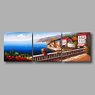 "Ready to Hang Stretched Hand-Painted Oil Painting 72""x24"" Three Panels Canvas Wall Art Seascape Mediterranean Garden"