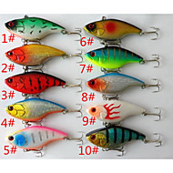 "cheap Fishing-10 pcs Hard Bait Fishing Lures Vibration/VIB Hard Bait g / 5/8 oz. Ounce/pc, 75 mm / 3"" Inches/pc Hard Plastic Sea Fishing Trolling &"