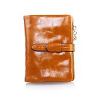 Uniseks Torbe Kravlja koža Clutch torbica Držač kartica Torbica za sitniš Patent-zatvarač Dva preklopa Novčanici za Vjenčanje Zabave