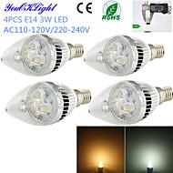 E14 LED Candle Lights C35 3 High Power LED 260 lm Warm White Cold White 3000/6000 K Decorative AC 220-240 AC 110-130 V