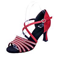 billiga Dansskor-Skor till latindans Glitter Sandaler Utsvängd klack Går att specialbeställas Dansskor Silver / Röd / Blå / Prestanda / Läder