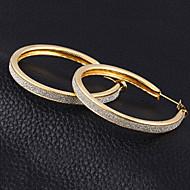 Dame Kvadratisk Zirconium Store øreringe - Kvadratisk Zirconium, Sølvbelagt Erklæring Guld / Sølv Til