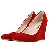 お買い得  レディースハイヒール-女性用 靴 繊維 春 秋 ウエッジヒール のために カジュアル ドレスシューズ パーティー レッド グリーン ブルー ヌード ネービーブルー