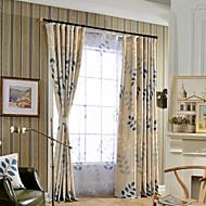 cheap Curtains & Drapes-Grommet Top Double Pleat One Panel Curtain Modern , Print Bedroom Linen / Cotton Blend Material Curtains Drapes Home Decoration