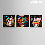 E-HOME® Stretched Canvas Art Painted Face Decoration Painting  Set of 3