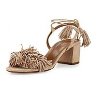 baratos Sapatos Femininos-Mulheres Sapatos Camurça Verão Salto Robusto Preto / Vermelho / Nú / Com Laço