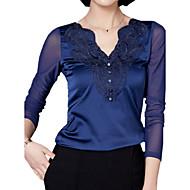 V-hals Dame - Ensfarvet Plusstørrelser T-shirt Polyester