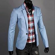 สำหรับผู้ชาย ทุกวัน / ทำงาน ฤดูใบไม้ผลิ / ตก ปกติ เสื้อคลุมสุภาพ, สีพื้น คอวี แขนยาว ฝ้าย น้ำเงินเข้ม / สีเขียว / ฟ้า XL / XXL / XXXL / เพรียวบาง