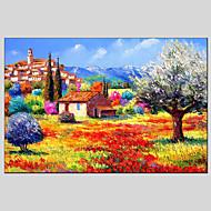 billiga Landskapsmålningar-Hang målad oljemålning HANDMÅLAD - Landskap Klassisk / Realism / Moderna Duk / Sträckt kanfas