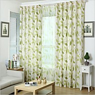 cheap Curtains Drapes-Rod Pocket Grommet Top Tab Top Double Pleat Pencil Pleat Two Panels Curtain Country, Print Bedroom Linen / Cotton Blend Material Curtains