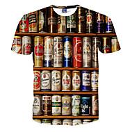 저렴한 -남성용 3D 라운드 넥 프린트 - 티셔츠, 활동적 화이트 XXL / 짧은 소매 / 여름