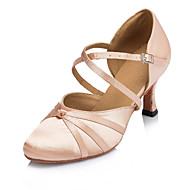 Women's Dance Shoes Latin / Jazz / Modern / Swing Shoes / Salsa / Samba Satin Heel Black / Pink Customizable