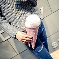 baratos Bolsas de Ombro-Mulheres Bolsas PU Bolsa de Cosmético / Bolsa Transversal Pêlo Xadrez Rosa claro / Azul Claro / Outono & inverno