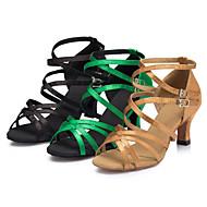 billige Sko til latindans-Dame Latin Salsa Samba Sateng Sandaler Høye hæler Innendørs Ytelse Trening Nybegynner Profesjonell Spenne Kustomisert hæl Svart Gul Grønn