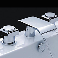 cheap Bathroom Sink Faucets-Contemporary Widespread Waterfall Brass Valve Three Holes Two Handles Three Holes Chrome, Bathroom Sink Faucet