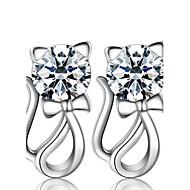 Feminino Brincos Curtos Imitação de Diamante Moda Jóias de Luxo bijuterias Pérola Prata de Lei Imitações de Diamante Formato Animal Gato