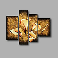 "Ready to Hang Stretched Hand-painted Oil Painting 48""x40"" Canvas Wall Art Modern Flowers Brown Beige"