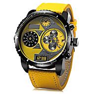 JUBAOLI Heren Polshorloge Militair horloge Kwarts Leer Band Zwart Blauw Rood Geel