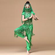 Buikdans Outfits Prestatie Chiffon Pailletten / Gouden munten / Kwastje Laag Top / Broeken / Masker