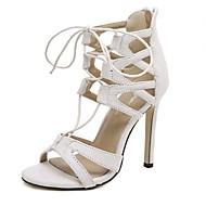 baratos Sapatos Femininos-Mulheres Sapatos Cashmere Verão Salto Agulha Branco / Preto / Com Laço