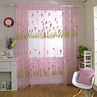 hesapli -Kopça Deliği Üstü Tek Panel Pencere Tedavi Ülke , Jakar Oturma Odası Polyester Malzeme Şeffaf Perde Shades Ev dekorasyonu