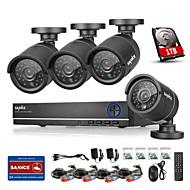 sannce® 4ch ahd 4pcs DVR 720p ir sistema de kits de vigilância de segurança gravador DVR casa de segurança CCTV 4 ch