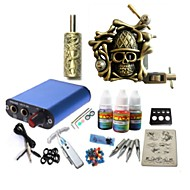 cheap Starter Tattoo Kits-Tattoo Machine Starter Kit 1 alloy machine liner & shader High Quality Mini power supply 1 x aluminum grip pcs Tattoo Needles Classic