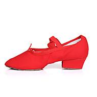 """billige Moderne sko-Dame Moderne Sateng Høye hæler Joggesko Trening Snøring Lav hæl Svart Rød Rosa 1 """"- 1 3/4"""" Kan spesialtilpasses"""