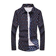 Langærmet Tryk Mænds Fritid / Formelt Skjorte Bomuld Blå