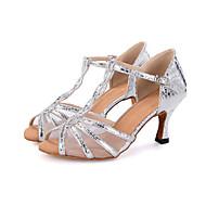 baratos Sapatilhas de Dança-Mulheres Sapatos de Dança Latina Sintéticos Sandália Presilha / Estampa Animal / Vazados Salto Carretel Personalizável Sapatos de Dança Preto / Prateado / Dourado / Espetáculo / Couro