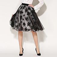 Dámské Vintage / Běžné nošení Délka ke kolenům Polyester Neelastické Sukně