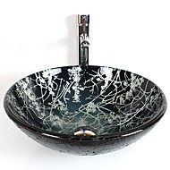 cheap Vessel Sinks-Round Contemporary Bathroom Tempered Glass Sink Set